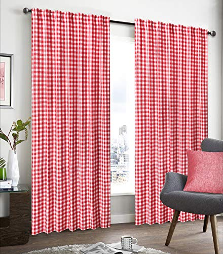 red and white window curtains - 7