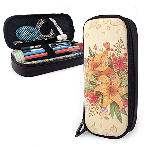 Charmander Vulpix - Estuche de piel sintética para lápices de anime (gran capacidad, bolsa de papelería, bolsa de almacenamiento, bolsa de maquillaje, con cremallera, color marrón