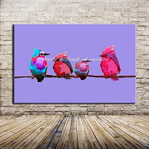 THTHT Artwork olieverfschilderij op canvas handgeschilderd, onframed schattig dierschilderij, roze blauw vogels familie, moderne abstracte grote wand kunst decoratie voor woonkamer slaapkamer kantoor hotel 28×42 inch (70x105 cm)