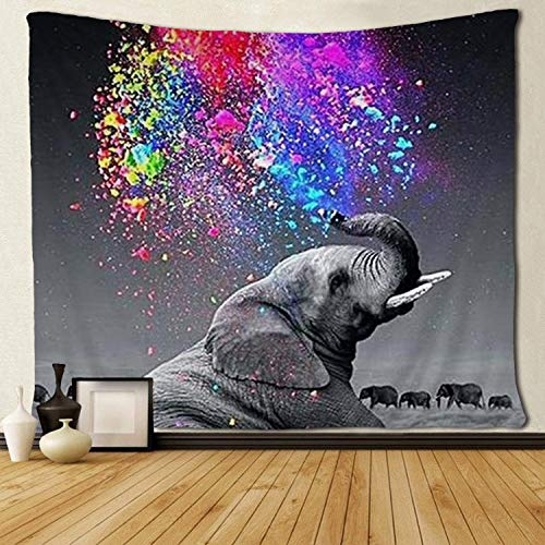 SARA NELL Funny Animal Wall Tapestry Elephant Rainbow Colorful Art Tapestries Hippie Art Wall Hanging Throw Tablecloth 50X60 Inches for Bedroom Living Room Dorm Room