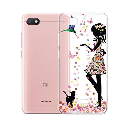 IJIA Hülle Hülle für Xiaomi Redmi 6A, Transparente Marmormuster Natürliche Elfenbein Weiß TPU Weich Silikon Stoßkasten Cover Handyhülle Schutzhülle Handyhüllen Schale Hülle Tasche