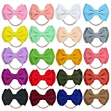 20PCS Big Bows Baby Nylon Headbands Hairbands Hair Bows Elastics for Baby Girls Newborn Infant Toddler Child Hair Accessories