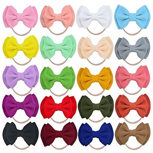 20 PCS Big Bows Baby Nylon Headbands Hairbands Hair Bows Elastics for Baby Girls Newborn Infant Toddler Child Hair Accessories