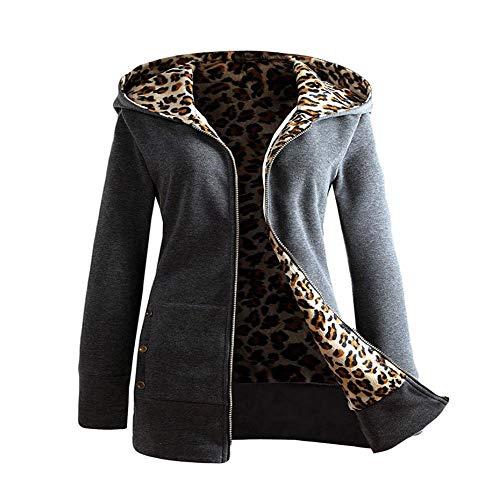 iHENGH Damen Winter Jacke Dicker Warm Bequem Slim Parka Mantel Lässig Mode Reißverschluss Frauen Plus Samt verdickter mit Kapuze Pullover Leopard Zipper(Dunkelgrau, M)