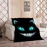 Smiling Cheshire Cat Blanket,Plush and Warm Home Soft Cozy Portable Fuzzy Throw Blankets for Couch Bed Sofa,Fantasy Scary Smiling Cat Face Black Cheshire Illustra,40'x50'