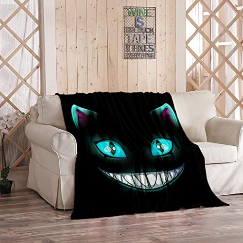 Smiling Cheshire Cat Blanket,Plush and Warm Home Soft Cozy Portable Fuzzy Throw Blankets for Couch Bed Sofa,Fantasy Scary Smiling Cat Face Black Cheshire Illustra,60'x80'