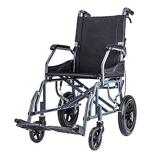 OSL Transportrollstuhl mit leichtem, dickem Stahlrahmen, 10 kg Klappstuhl ist tragbar, Vorder- und Hinterradbremse, Tragkraft 100 kg Transport OSL/Schwarz