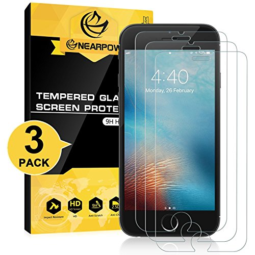 NEARPOW [3 Pack] Mica Protector de Pantalla para iPhone 6/6S 4.7 Vidrio Cristal Templado
