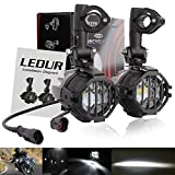 LEDUR Motorcycle Auxiliary Lights LED Spot Driving R1200GS Fog Lights Turn Signal DRL Compatible with R1200GS F800GS K1600 KTM Fits Universal Motorcycle 40W 6000K Spot Driving Fog Lamps