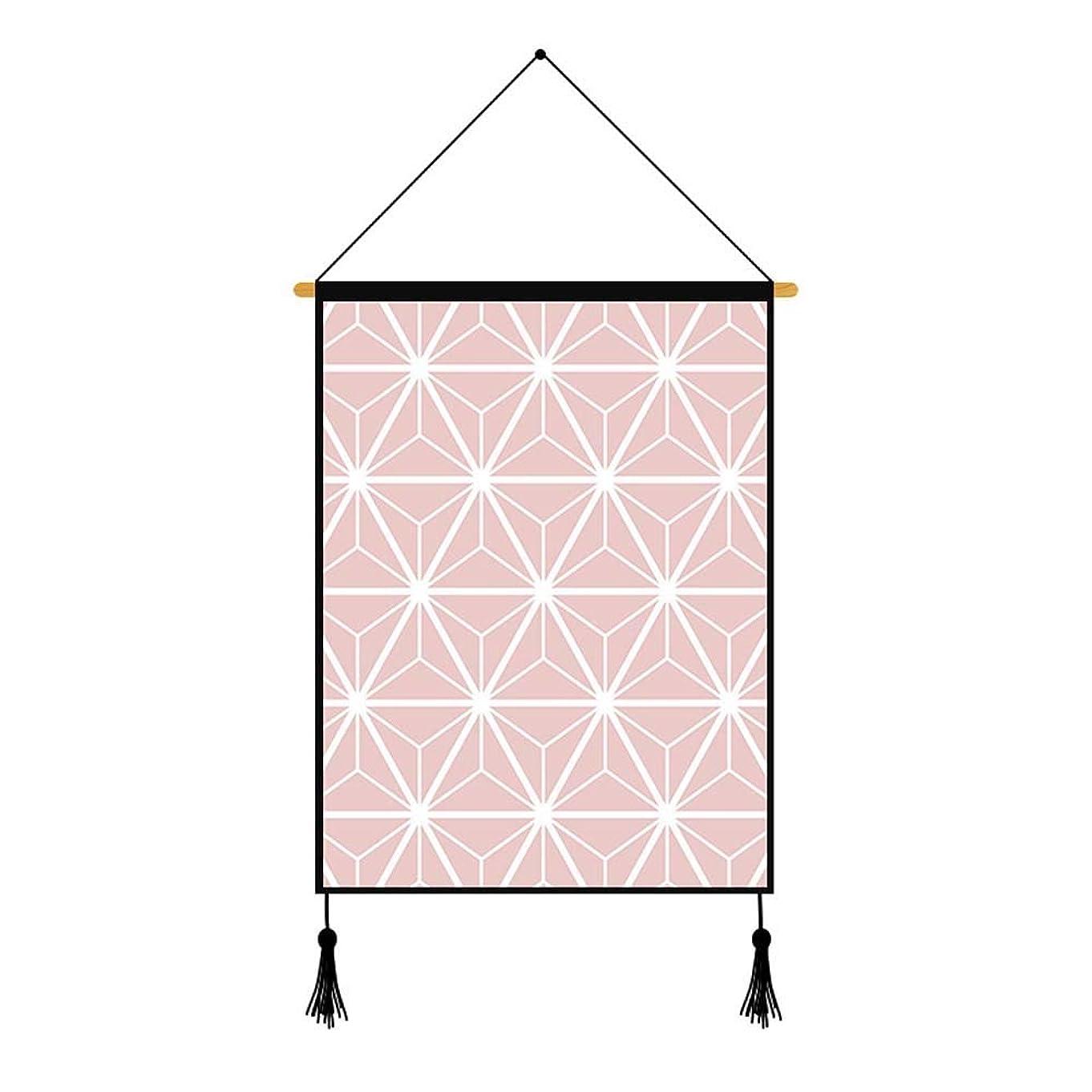 パーティー戦い彼は現代のミニマリスト印刷装飾絵画デジタル印刷壁画ピンクの幾何学的な創造的な厚い綿とリネンの幾何学模様スクロール絵画ベッドサイドウォール インテリア