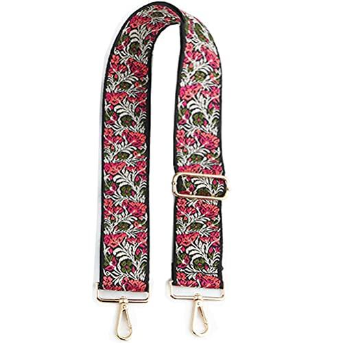 """Abuyall - Correa de lona ajustable para bolso de hombro, diseño geométrico floral, con paneles de entramado, correa de repuesto ajustable, diseño étnico, 53.15""""-geometic (Rojo) - JD005Pt22"""