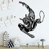 Spiderman Stickers Muraux Vinyle Pour Enfants Chambre Décoration Accessoires Sticker Mural Garçons Chambre Décor Jh453-Noir_80X112Cm