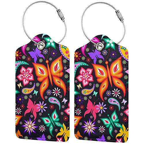 Butterfly Luggage Tags 2 Piece of Sets Cute PU Leather Suitcase Labels Baggage Bag Label with Stainless Steel Loop Travel ID Handbag Tag Travel Accessories for Women Men Kids Teen Girls