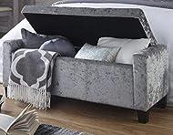 GFW - The Furniture Warehouse Verona Crushed Velvet Storage Bench (Grey)