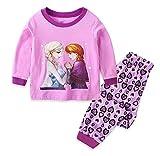 Toddler Girls Long Sleeve Princess Pajamas Sets Pjs Cotton Infant Kids (Purple, 5T)
