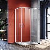90x80cm Eckeinstieg Duschkabine Sicherheitsglas Schiebetür Eckdusche Duschabtrennung Duschschiebetür Glas