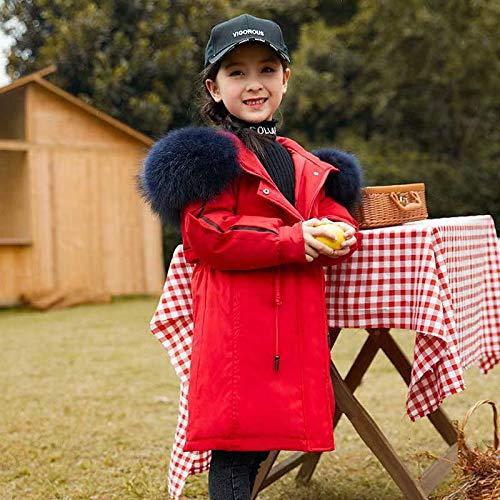 FDSAD Manteau Thermique Épaissi pour Enfants, Longue Section Hiver, Nouveau Manteau pour Enfants, Grande Taille, Hiver, Taille 140Cm Rouge