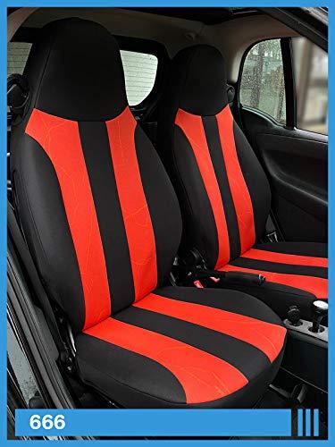 Maß Sitzbezüge kompatibel mit Smart fortwo 451 Fahrer & Beifahrer ab 2007-2014 Farbnummer: 666