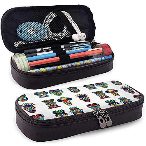 Zulu oder aztekische Maske Icons Pu Leder Federmäppchen Tasche mit Reißverschluss niedlichen Stift Federmäppchen Box Briefpapier Box