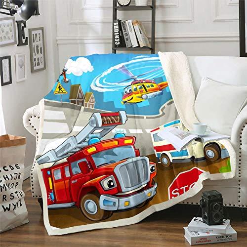 Cartoon-Auto-Sherpa-Decke, Feuerwehrauto, Krankenwagen-Decke, Fleecedecke für Kinder, Jungen, Mädchen, Feuerwehrmann, Plüschdecke, dringende Hilfe für Sofa, Bett, Couch, Baby, 76,2 x 101,6 cm