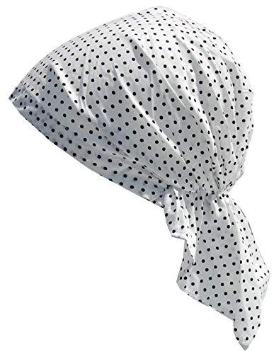 Cool4 Sommer Kopftuch Strand Bandana Meer Beanie Sonne Sonnenschutz Mütze Chemo Cap A04 (Weiß schwarz gepunktet)
