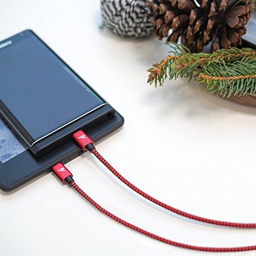 RAMPOW Micro USB Ladekabel, 1M/ 2-Stücke, mit Nylon geflochtenes Micro USB Schnellladekal geeignet für Android Smartphones, Samsung Galaxy, HTC, Huawei, Sony, Nexus, Kindle und mehr - Rot