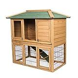 Elightry Cage de Lapin imperméable,Clapier à Lapin en Bois Massif, Clapier extérieur, Jardin, 2 étages pour Chat Hamster Rongeurs 124 * 67 * 121cm