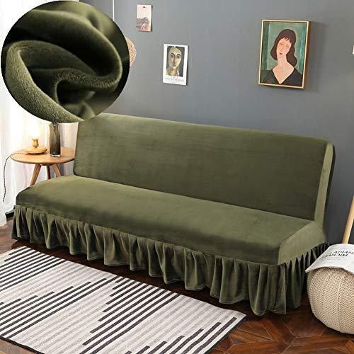LINGHAN Dicker Samt-Sofabezug mit Rock, weich, dehnbar, ohne Armlehnen, Sofa-Möbelschutz, faltbarer Sofabezug, einfache Passform, elastischer Couchbezug