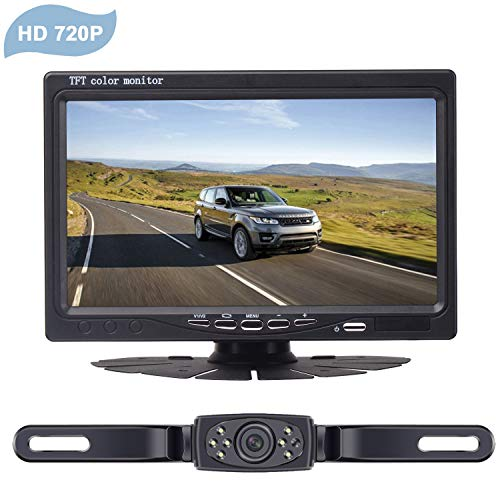 """LeeKooLuu Wireless Backup Camera System for Car/Pickups/Minivan/Truck with 7"""" LCD Monitor Rear/Front View System IP68 Waterproof Night Vision Guide Lines ON/Off for Continuous/Reversing Use"""