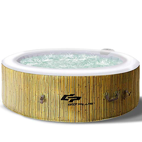 Goplus 4-6 Person Outdoor Spa Inflatable Hot Tub for Portable Jets Bubble Massage Relaxing with Accessories Set (6-Person, Beige)