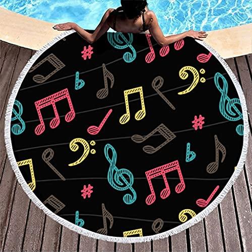 Toalla de playa redonda de microfibra con notas musicales, ligera, toalla de playa, manta de pícnic, esterilla de yoga, para colgar en la pared, para exteriores y viajes, color blanco, 150 cm