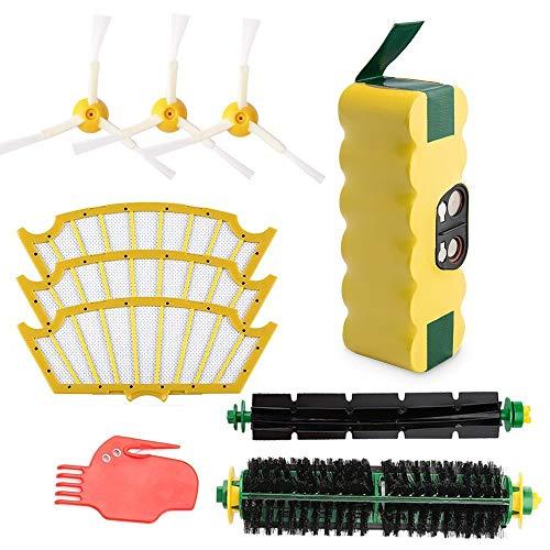 efluky ricambio 3.5 AH Roomba Batteria + SPAZZOLE Kit di parti di ricambio per iRobot Roomba 500 Serie - 500 505 510 520 530 535 536 540 545 550 552 560 561 562 563 564 565 570 580 595ecc.