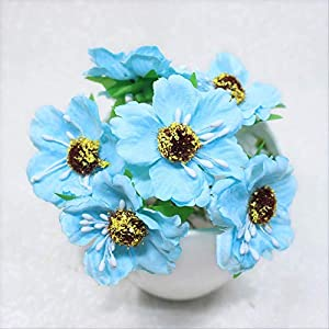 DSWJH Bouquet Heads Mini Silk Artificial Poppy Bouquet Wreath Scrapbook Wedding Decoration Fake Flower Light