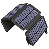 Solar Charger 25000mAh ADDTOP Portable Solar Phone Charger Power Bank with 4 Solar Panels and Dual 2.1A Outputs, Outdoor External Battery Pack for iPhone, Samsung and Tablets