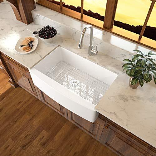 33 Farmhouse Sink - Sarlai 33 Inch White Kitchen Sink Arch Edge Apron Front Ceramic Porcelain Fireclay Single Bowl Farm Kitchen Sink