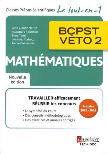Mathématiques, BCPST-Véto, 2e année