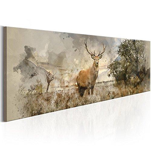 murando - Bilder Hirsch 150x50 cm Vlies Leinwandbild 1 TLG Kunstdruck modern Wandbilder XXL Wanddekoration Design Wand Bild - Landschaft Natur Tier g-B-0042-b-a