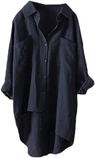 بلوزة نسائية من DressU مزودة بأزرار سفلية وجيوب فضفاضة بلون سادة وحاشية غير متماثل