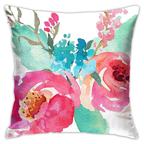 Watercolor Peonies Pink Turquoise Summer Throw Pillow Covers Decorative 18x18 Inch Pillowcase Square Cushion Cases for Home Sofa Bedroom Livingroom