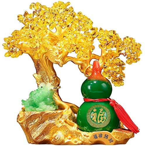 CZXKJ Árbol del Dinero Bonsai Feng Shui Bonsai Fortuna árbol del Dinero for la Buena Suerte y Prosperidad Riqueza-Home Office Decor Espiritual Regalo Calabaza Decoración Árbol del Dinero
