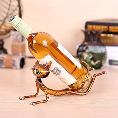 ZWENROU Estante de Vino Estante de Vino de Gato de Metal Estante de Botella de Vino Escultura práctica Decoraciones para el hogar Estantes de Vino de Animales de Interior Manualidades