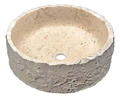 ANZZI Desert Crown Vessel Stone Sink in Classic Cream Marble| Premium Solid...