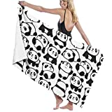 AghRFH Toallas de playa para mujeres hombres Kawaii Panda Bear Sketch Toallas de baño de secado rápido Multiusos Viaje Piscina Manta Grande 31x51 pulgadas