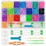 ZITFRI Pulseras de Goma Caja de 6800 Bandas de Goma para hacer Pulseras 22 Colores Gomas Elasticas Bandas de Telar Loom Kit Brazaletes para Pulseras con Herramienta de Telar, Juego Creativo para niños