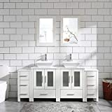 72' Bathroom Vanity Cabinet White Double Sink Marble Pattern Top w/Mirror Faucet&Drain