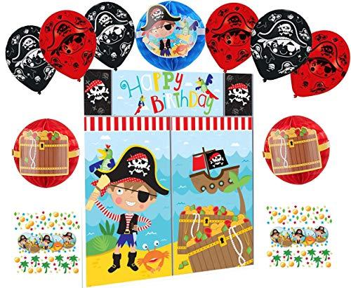 Set de decoración de cumpleaños de piratas para niños, juego de decoración para cumpleaños infantil, diseño de piratas y globos