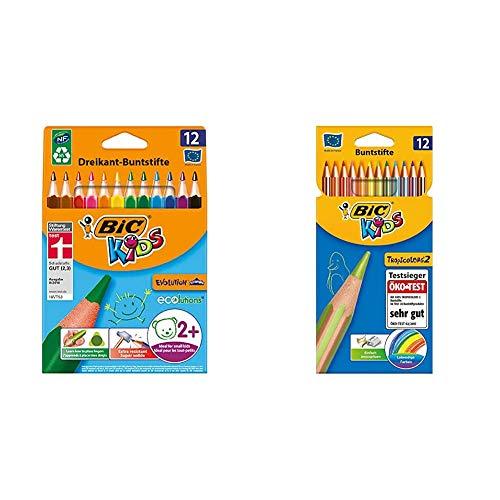 BIC Kids Buntstifte Stifte Set: 12 Dreikant Malstifte ab 2 Jahre und 12 Tropicolors Farbstifte ab 5 Jahre, Bruchsichere Mine und ohne Holz