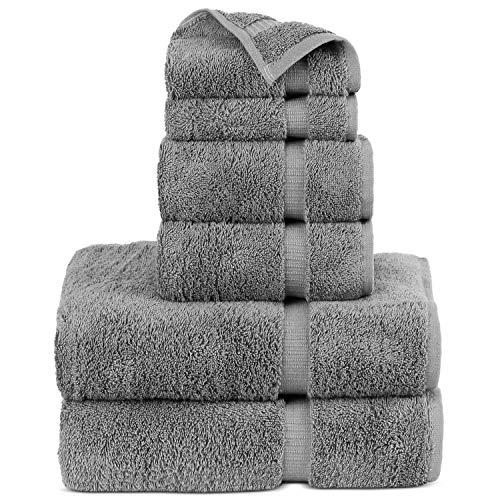 Luxury Hotel & Spa Towel Turkish Cotton Bath Towel Bundle (Gray, 6-Piece Towel Set)