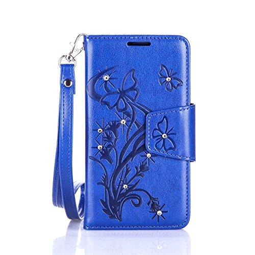 lenovo A2010 Hülle Coozon Flip Hülle mit lebenslanger Garantie Kartenfächern & Standfunktion Cover Wallet fürlenovo A2010 (4,5 Zoll) Schmetterling blau