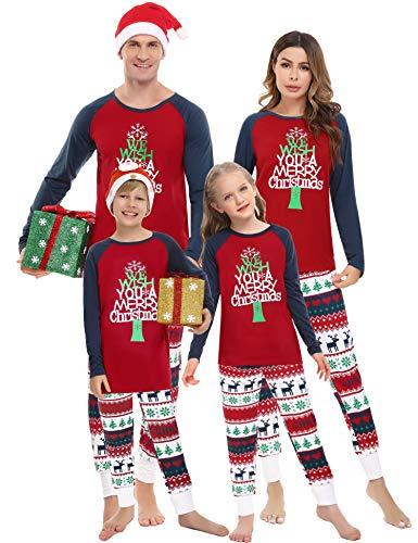 Irevial Pijamas Navidad Familia Conjunto,Manga Larga Camiseta con Estampado de Feliz Navidad y...